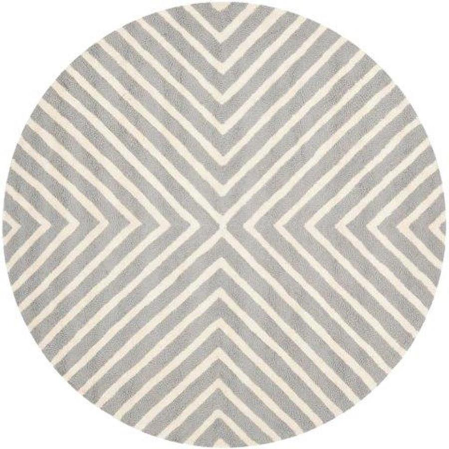 Safavieh Cambridge Silver and Ivory Round Indoor Tufted Area Rug (Common: 4 x 4; Actual: 48-in W x 48-in L x 0.33-ft Dia)