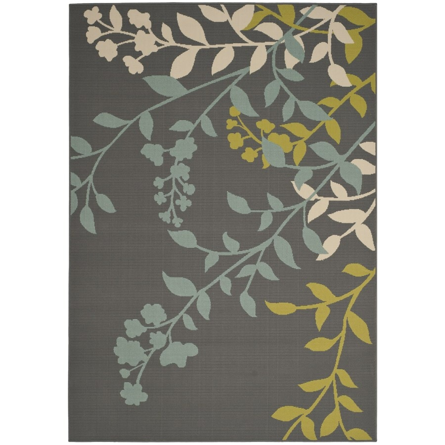 Safavieh Hampton Rectangular Gray Floral Indoor/Outdoor Woven Area Rug (Common: 6-ft x 9-ft; Actual: 6.58-ft x 9.5-ft)