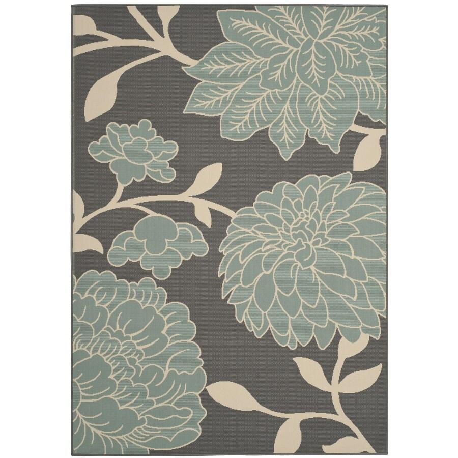 Safavieh Hampton Rectangular Gray Floral Indoor/Outdoor Woven Area Rug (Common: 8-ft x 11-ft; Actual: 8-ft x 11-ft)