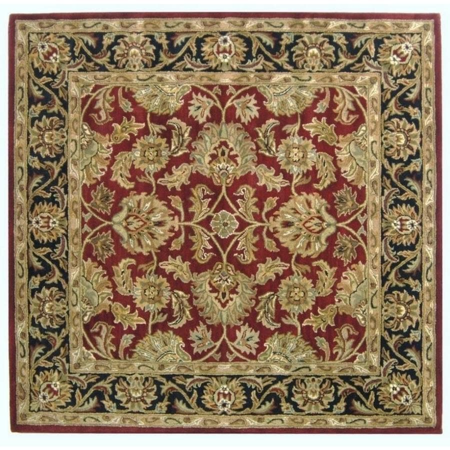 Safavieh Heritage Red and Black Square Indoor Tufted Area Rug (Common: 6 x 6; Actual: 72-in W x 72-in L x 0.5-ft Dia)