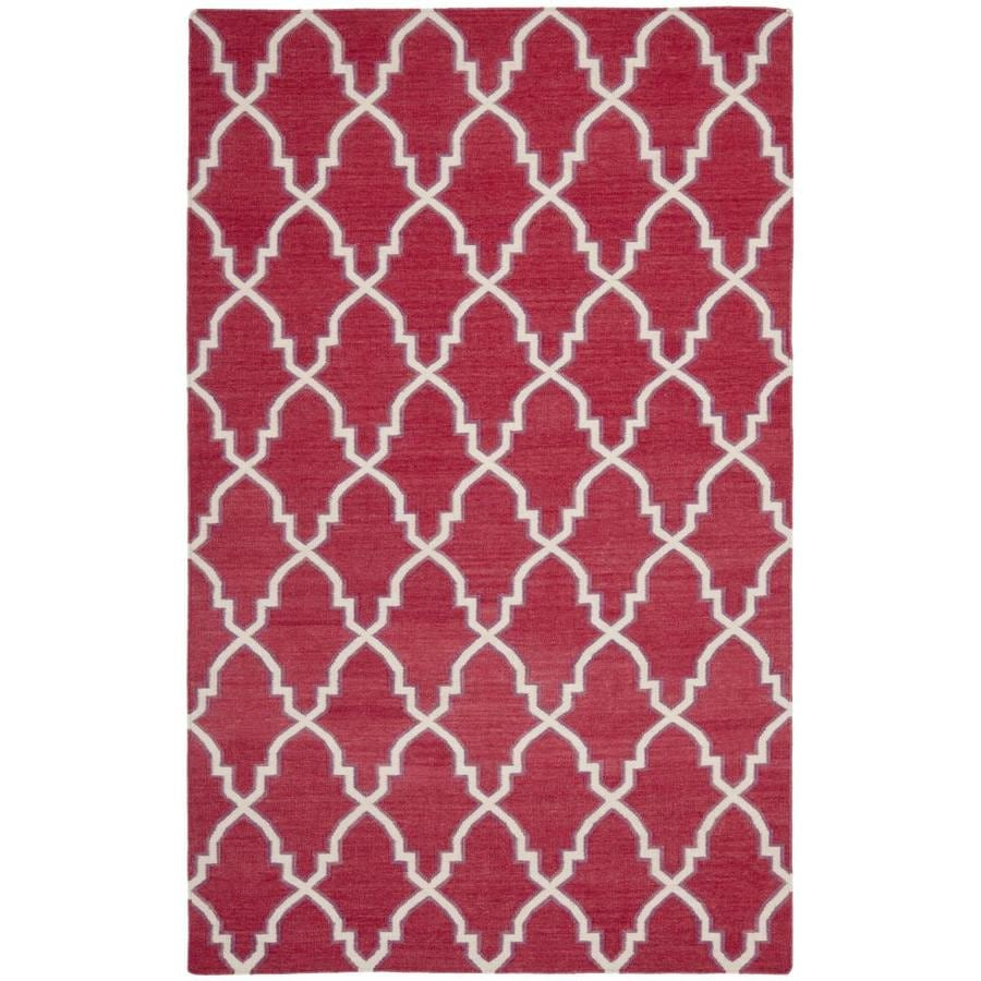 Safavieh Dhurries Red and Ivory Rectangular Indoor Woven Area Rug (Common: 5 x 8; Actual: 60-in W x 96-in L x 0.33-ft Dia)