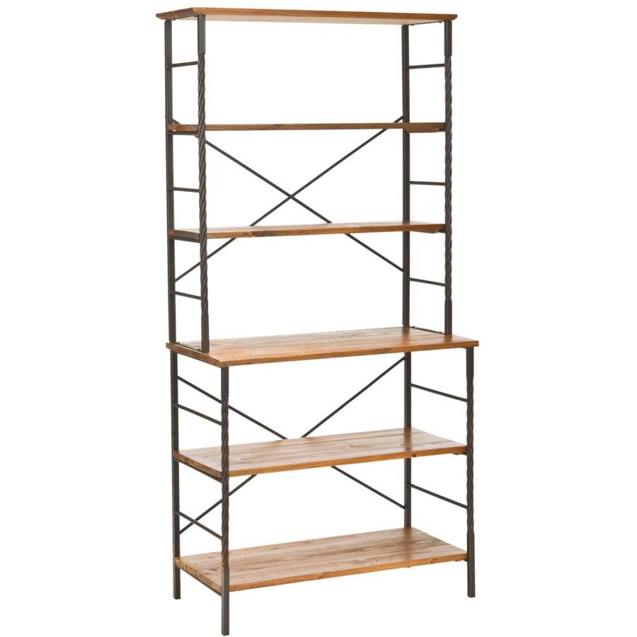 Safavieh 77-in H x 37-in W x 18-in D 6-Tier Wood Freestanding Shelving Unit