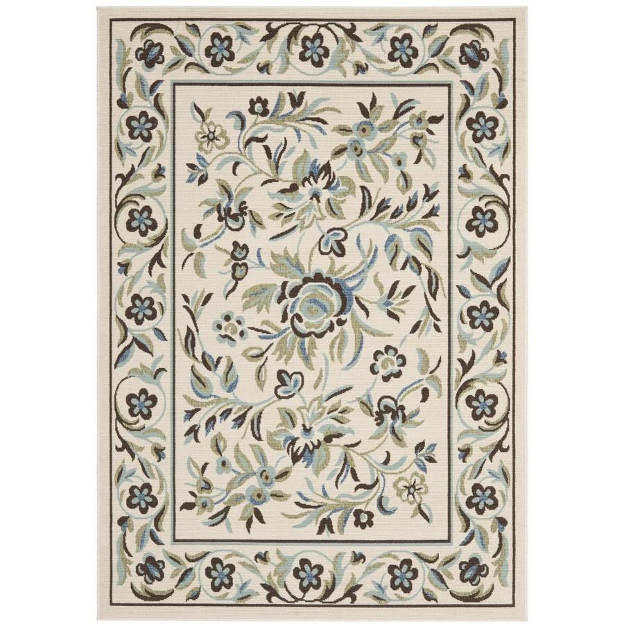 Safavieh Veranda Cream and Green Rectangular Indoor Machine-Made Area Rug (Common: 4 x 6; Actual: 48-in W x 67-in L x 0.33-ft Dia)