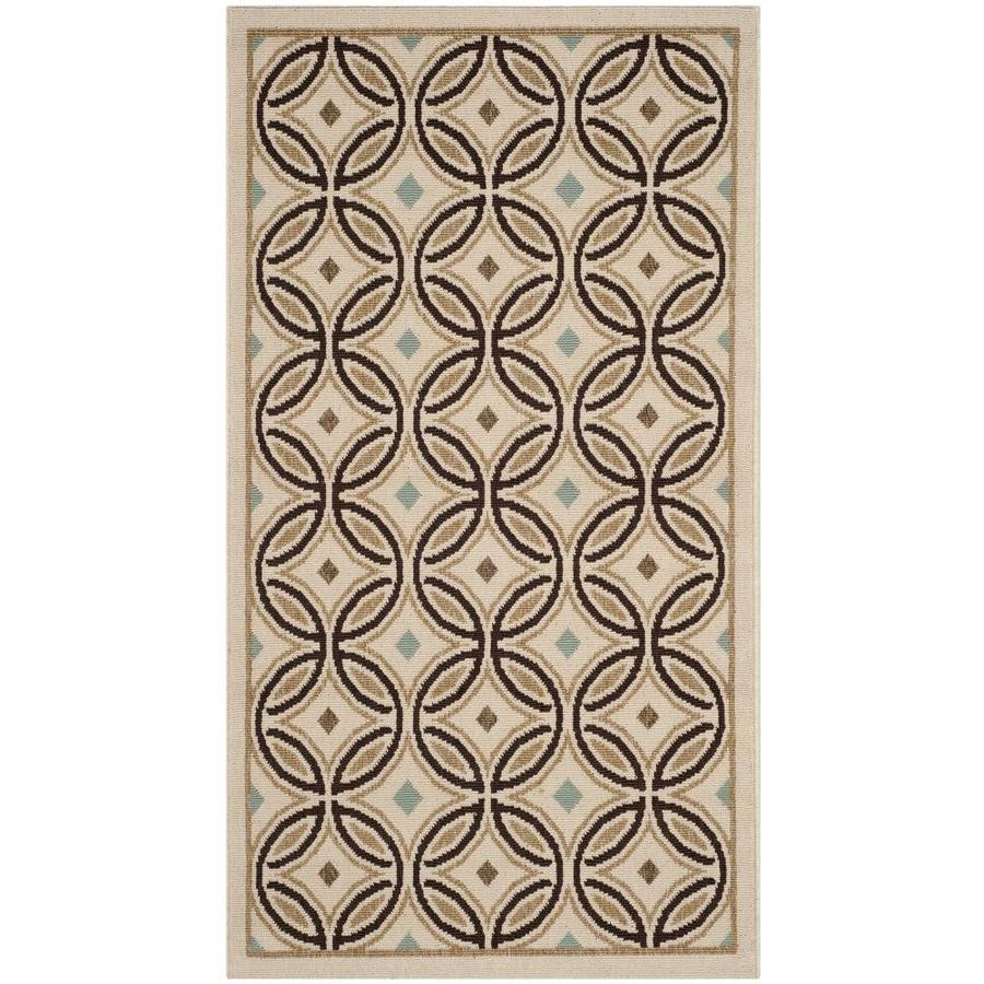 Safavieh Veranda Cream and Chocolate Rectangular Indoor Machine-Made Area Rug (Common: 4 x 6; Actual: 48-in W x 67-in L x 0.33-ft Dia)
