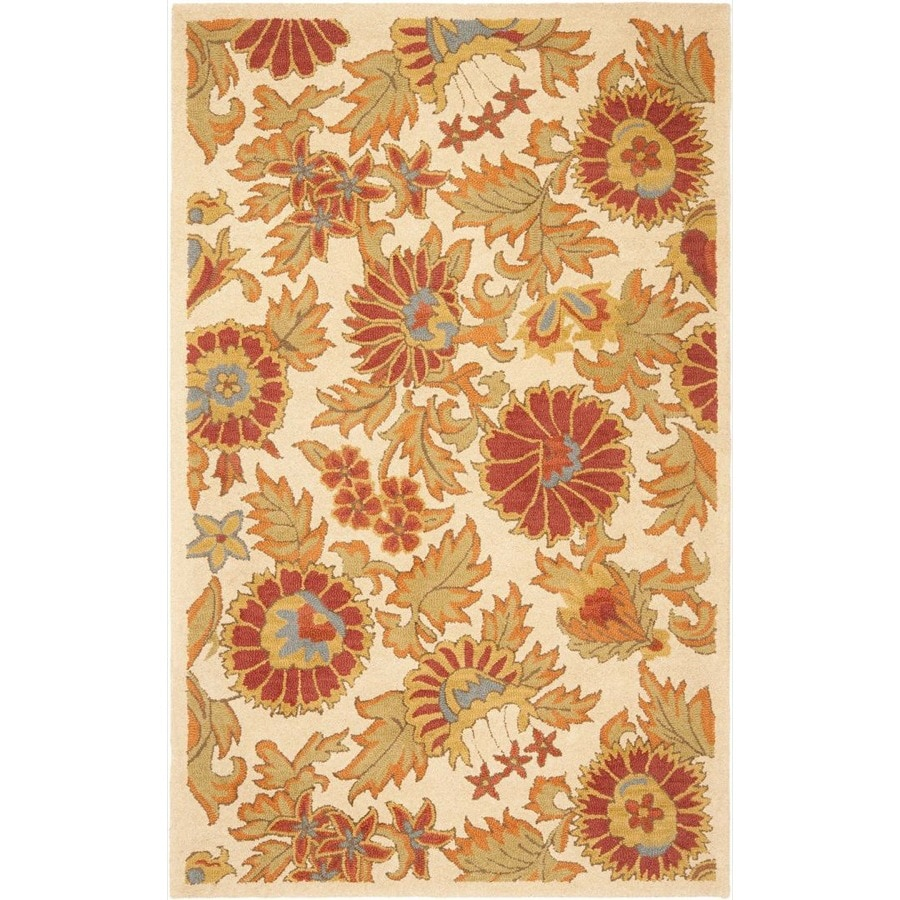 Safavieh Blossom Ivory and Multicolor Rectangular Indoor Hand-Hooked Throw Rug (Common: 3 x 5; Actual: 36-in W x 60-in L x 0.42-ft Dia)