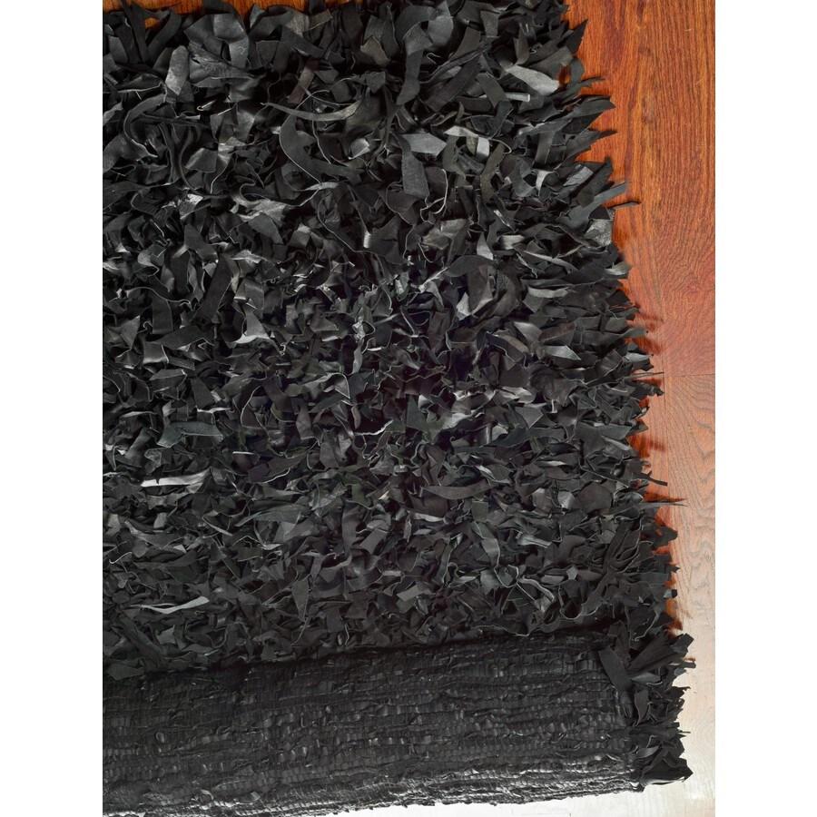 Safavieh Leather Shag Black Rectangular Indoor Woven Throw Rug (Common: 3 x 5; Actual: 36-in W x 60-in L x 0.58-ft Dia)