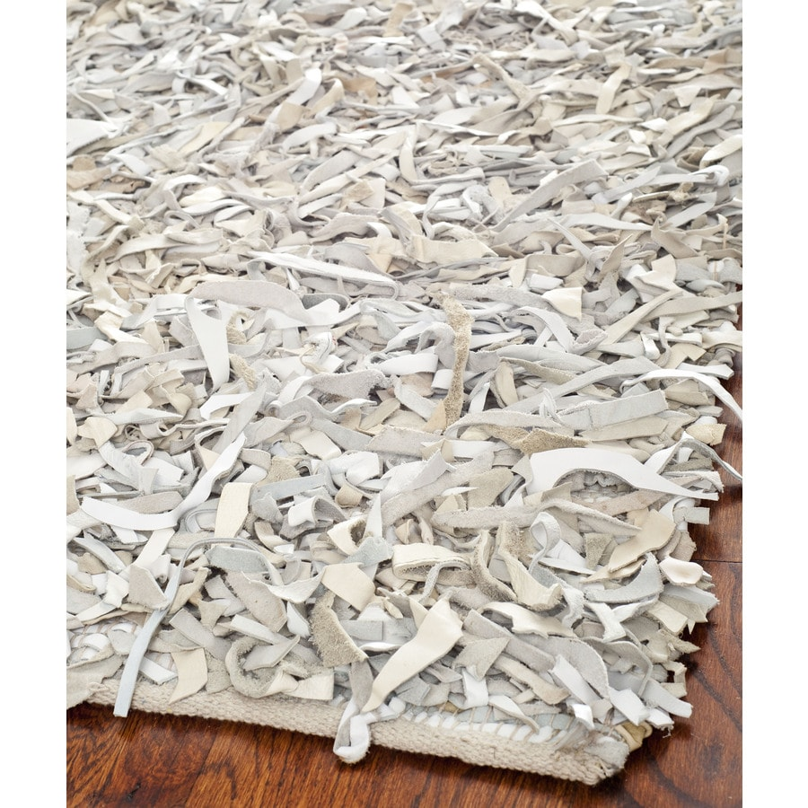 Safavieh Leather Shag White Rectangular Indoor Woven Area Rug (Common: 4 x 6; Actual: 48-in W x 72-in L x 0.67-ft Dia)