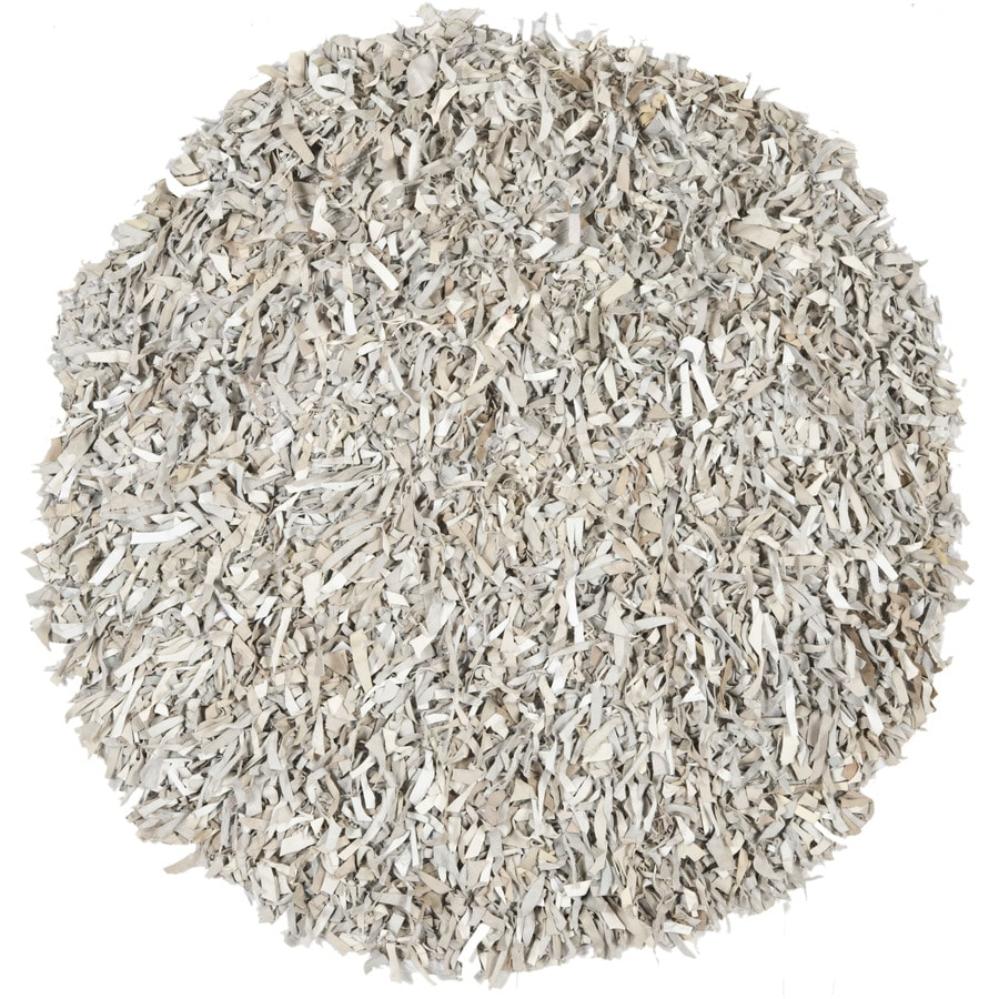 Safavieh Leather Shag White Round Indoor Woven Area Rug (Common: 4 x 6; Actual: 48-in W x 48-in L x 0.42-ft Dia)