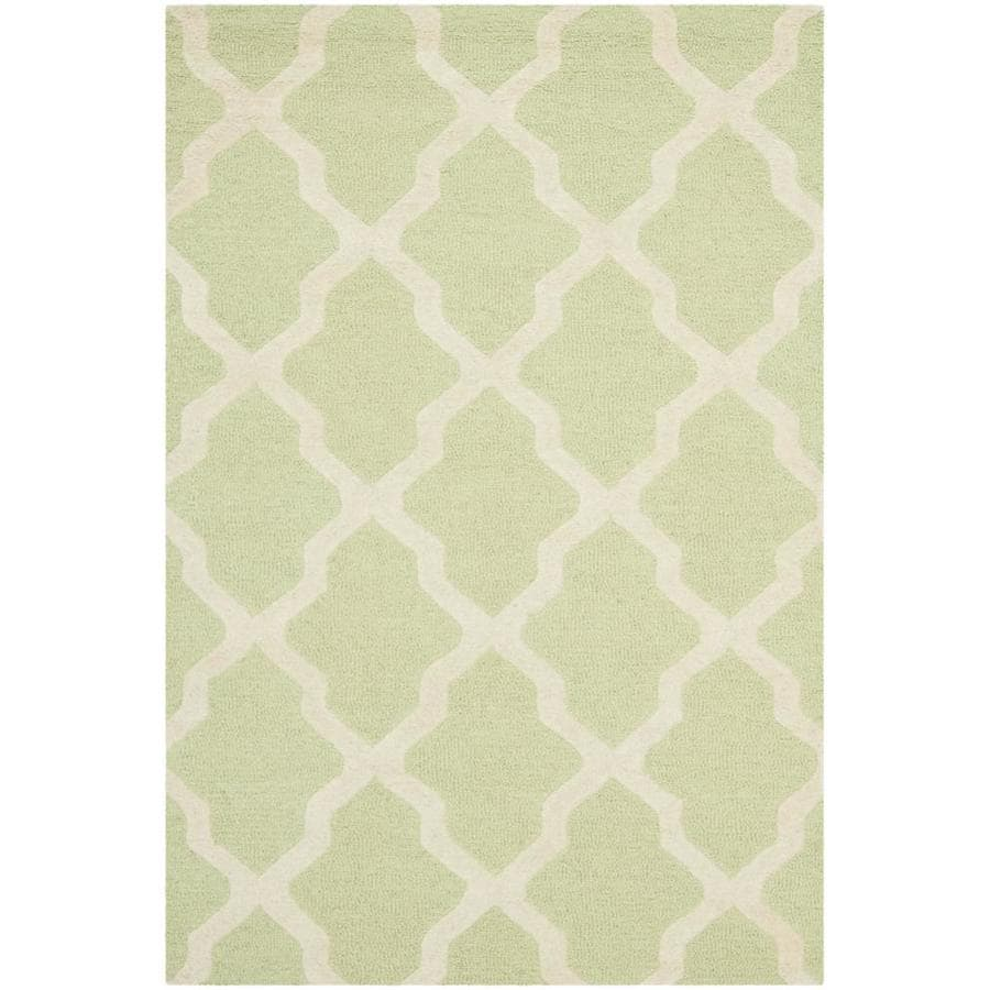 Safavieh Cambridge Light Green and Ivory Rectangular Indoor Tufted Throw Rug (Common: 3 x 5; Actual: 36-in W x 60-in L x 0.42-ft Dia)