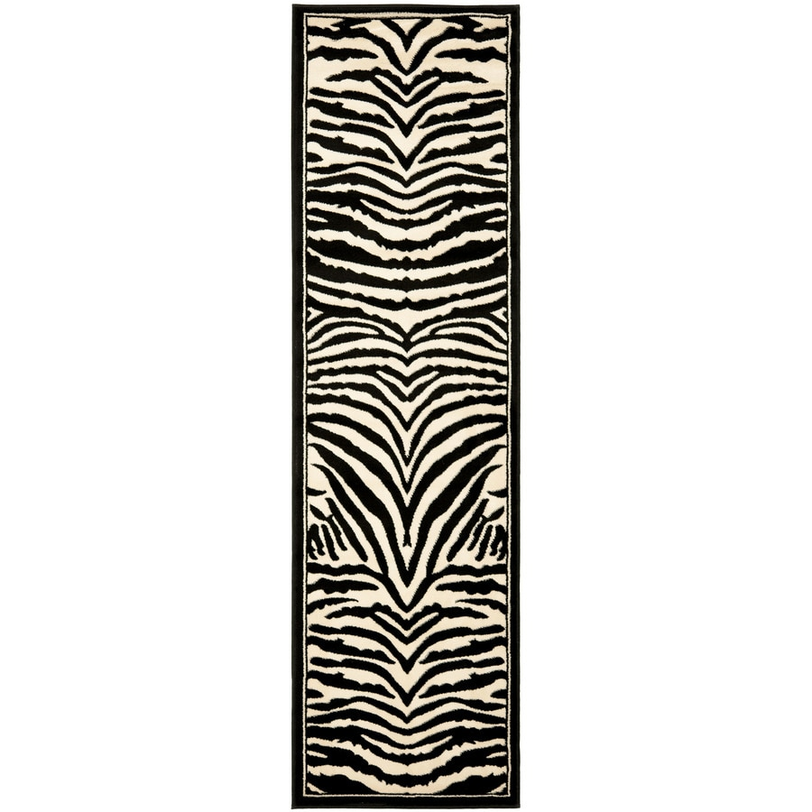 Safavieh Lyndhurst White and Black Rectangular Indoor Machine-Made Runner (Common: 2 x 12; Actual: 27-in W x 144-in L x 0.33-ft Dia)