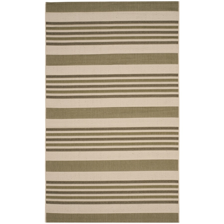 Safavieh Courtyard Rectangular Green Transitional Indoor/Outdoor Woven Area Rug (Common: 5-ft x 8-ft; Actual: 5.25-ft x 7.58-ft)