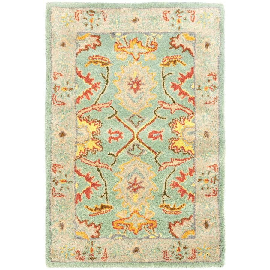 Safavieh Heritage Light Blue and Ivory Rectangular Indoor Tufted Throw Rug (Common: 3 x 5; Actual: 36-in W x 60-in L x 0.42-ft Dia)