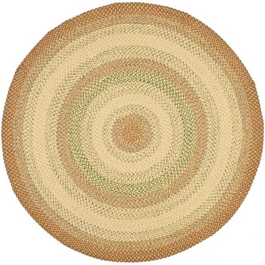 Safavieh Braided Rust and Multicolor Round Indoor and Outdoor Braided Area Rug (Common: 6 x 6; Actual: 72-in W x 72-in L x 0.42-ft Dia)