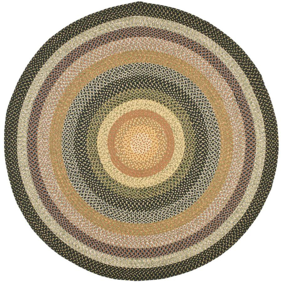 Safavieh Braided Blue and Multicolor Round Indoor and Outdoor Braided Area Rug (Common: 8 x 8; Actual: 96-in W x 96-in L x 0.58-ft Dia)
