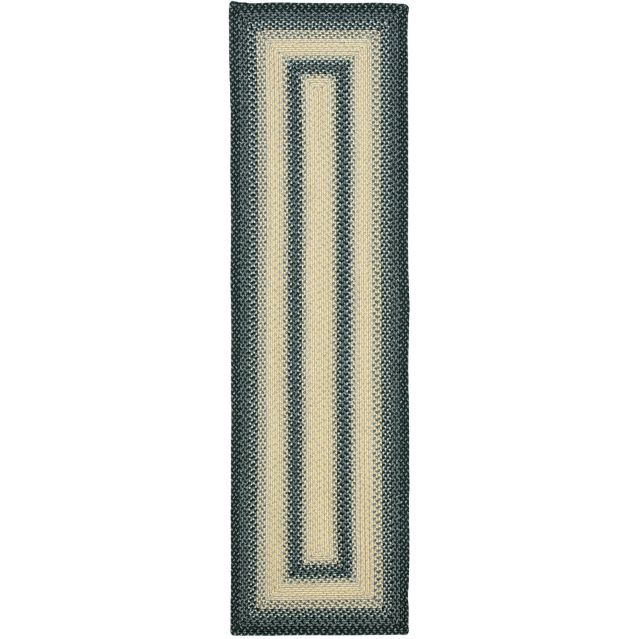 Safavieh Braided Black and Grey Rectangular Indoor and Outdoor Braided Runner (Common: 2 x 12; Actual: 27-in W x 144-in L x 0.67-ft Dia)