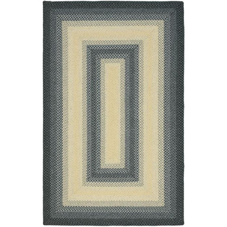 Safavieh Braided Black and Grey Rectangular Indoor and Outdoor Braided Area Rug (Common: 6 x 9; Actual: 72-in W x 108-in L x 0.67-ft Dia)