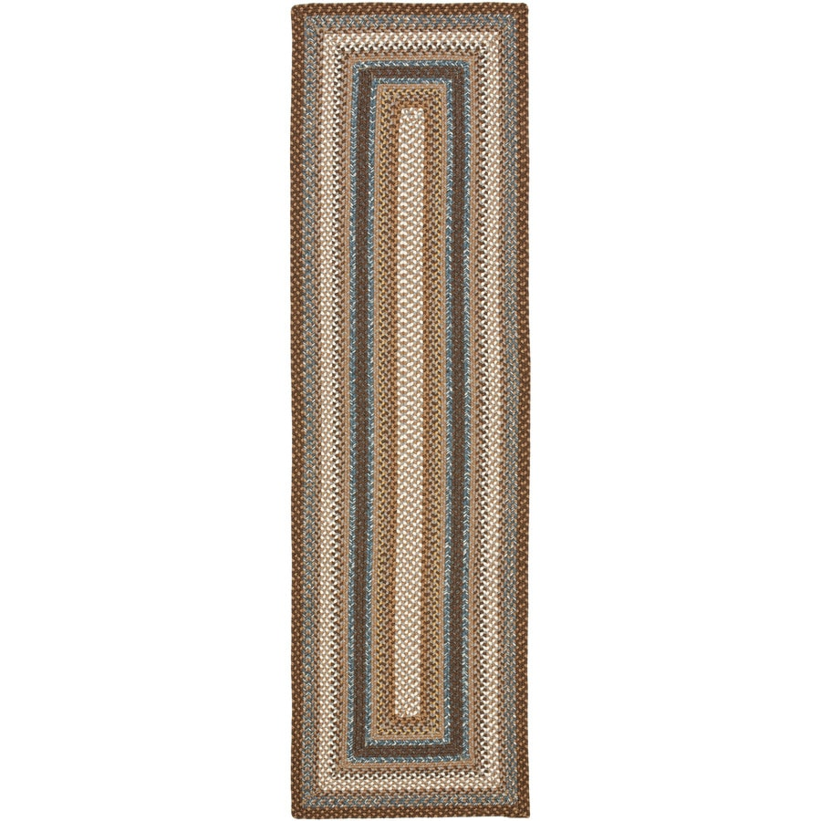Safavieh Braided Brown and Multicolor Rectangular Indoor and Outdoor Braided Runner (Common: 2 x 8; Actual: 27-in W x 96-in L x 0.58-ft Dia)