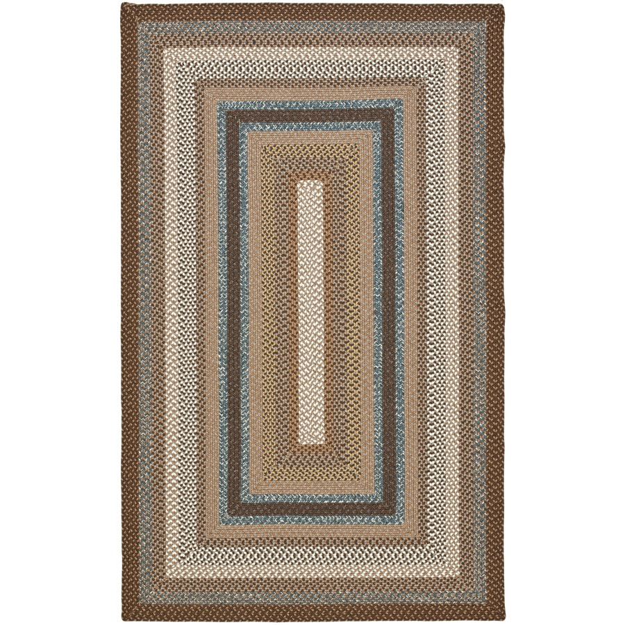 Safavieh Braided Brown and Multicolor Rectangular Indoor and Outdoor Braided Area Rug (Common: 4 x 6; Actual: 48-in W x 72-in L x 0.42-ft Dia)