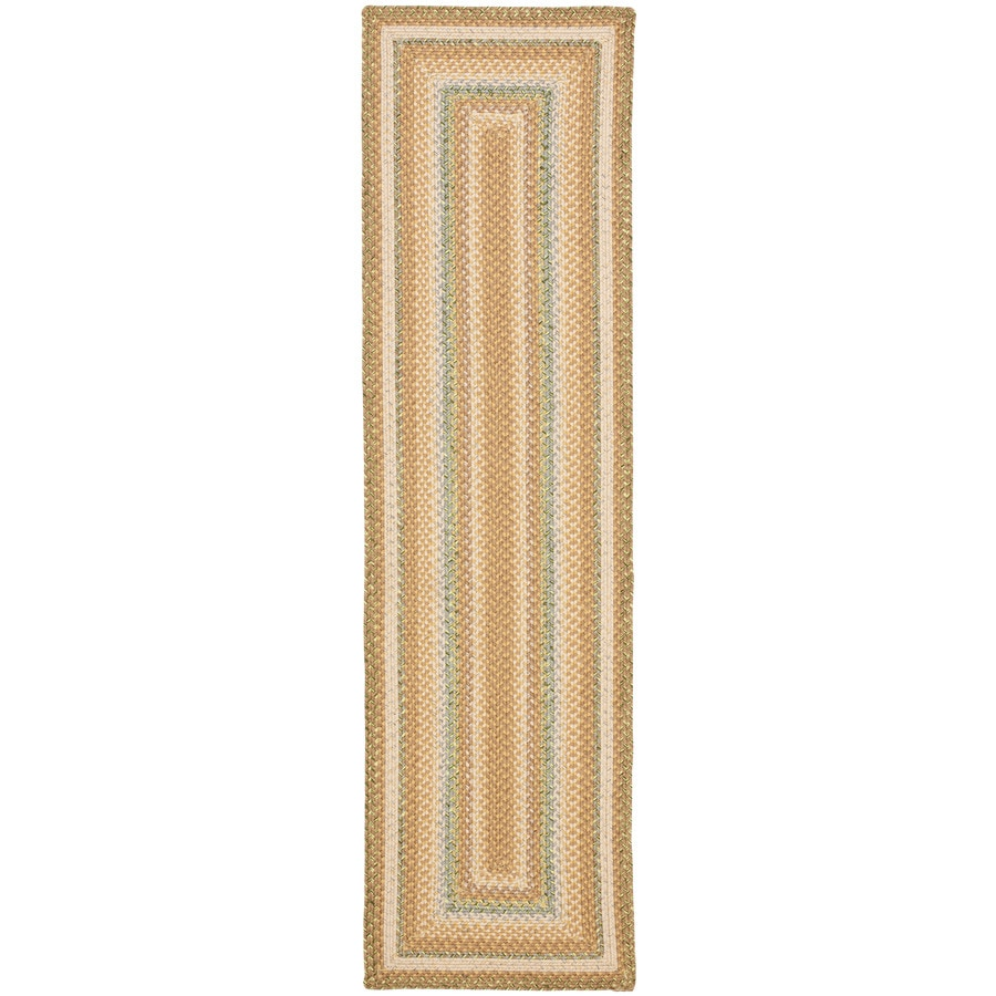 Safavieh Braided Tan and Multicolor Rectangular Indoor and Outdoor Braided Runner (Common: 2 x 12; Actual: 27-in W x 144-in L x 0.67-ft Dia)