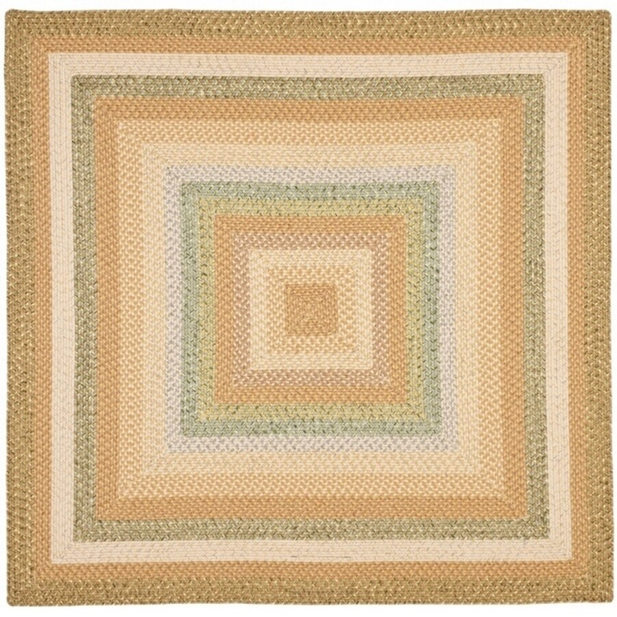 Safavieh Braided Green Square Indoor and Outdoor Braided Area Rug (Common: 8 x 8; Actual: 96-in W x 96-in L x 0.58-ft Dia)
