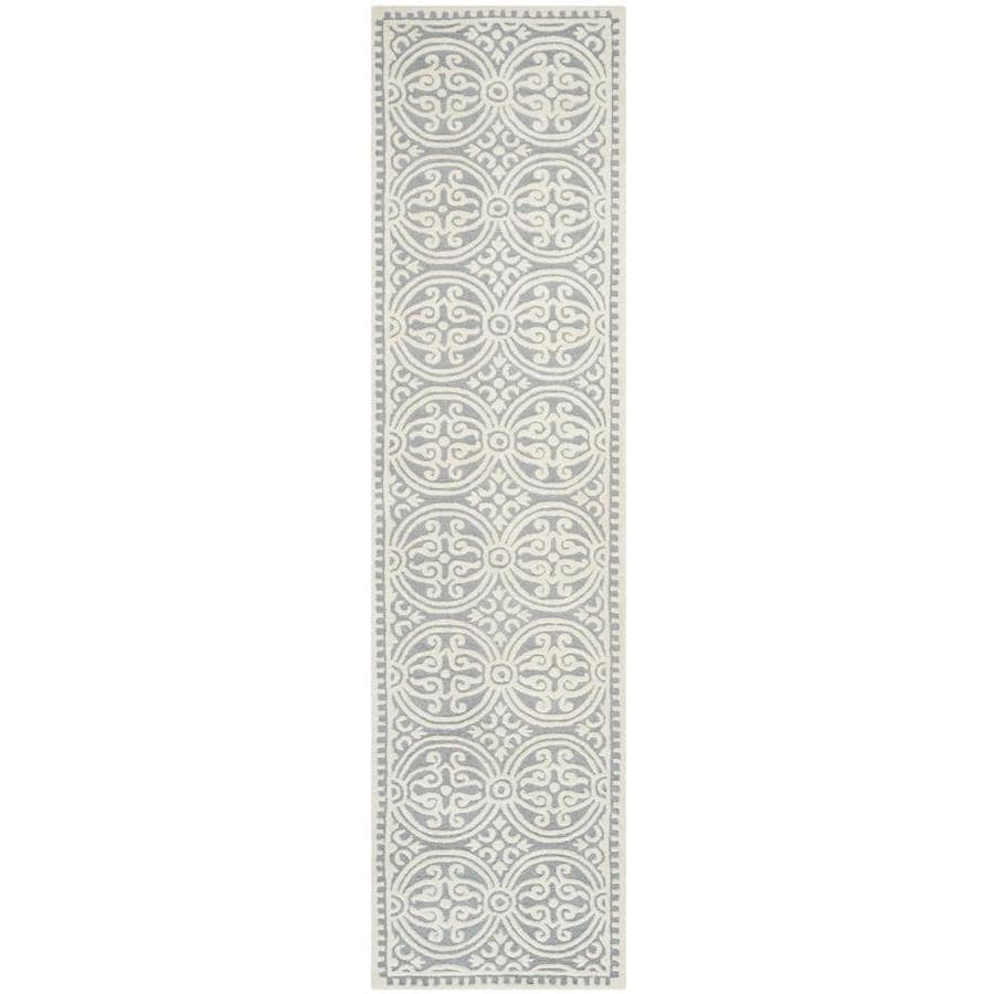 Safavieh Cambridge Silver and Ivory Rectangular Indoor Tufted Runner (Common: 2 x 10; Actual: 30-in W x 120-in L x 0.67-ft Dia)