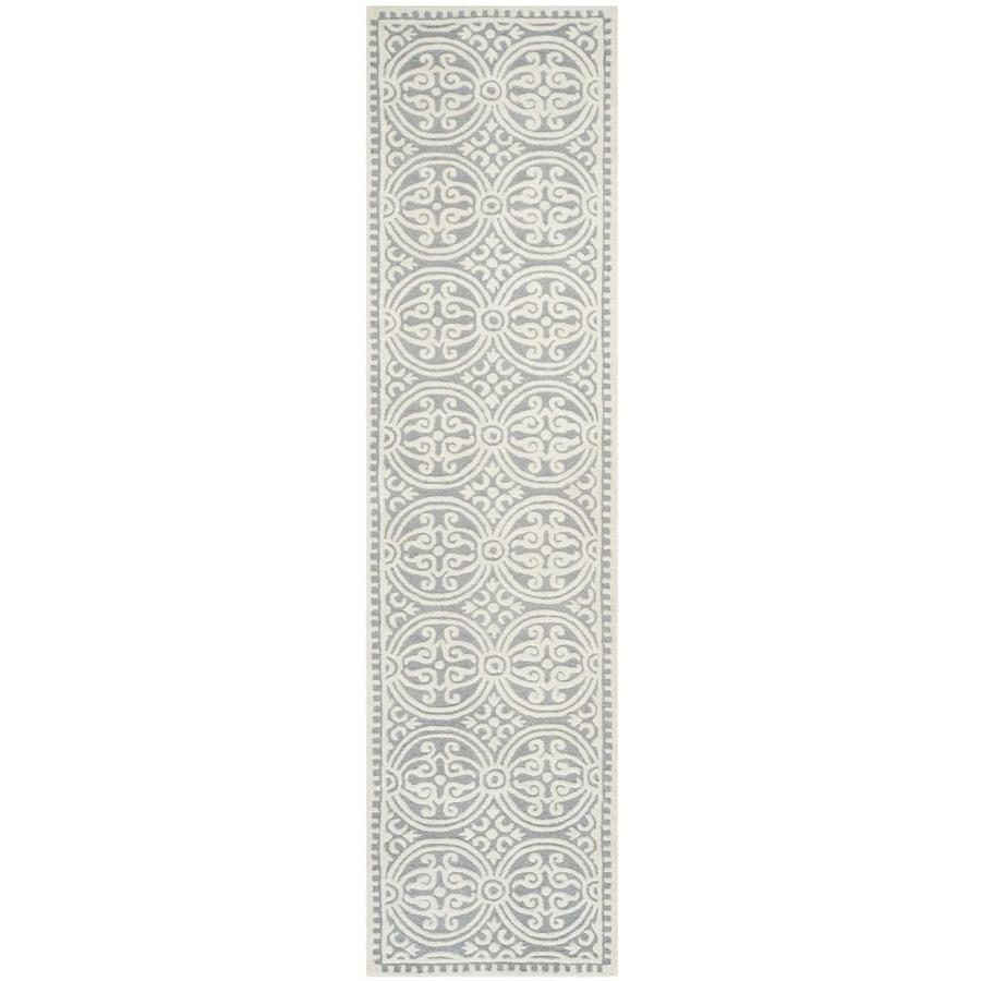 Safavieh Cambridge Silver and Ivory Rectangular Indoor Tufted Runner (Common: 2 x 12; Actual: 30-in W x 144-in L x 0.75-ft Dia)
