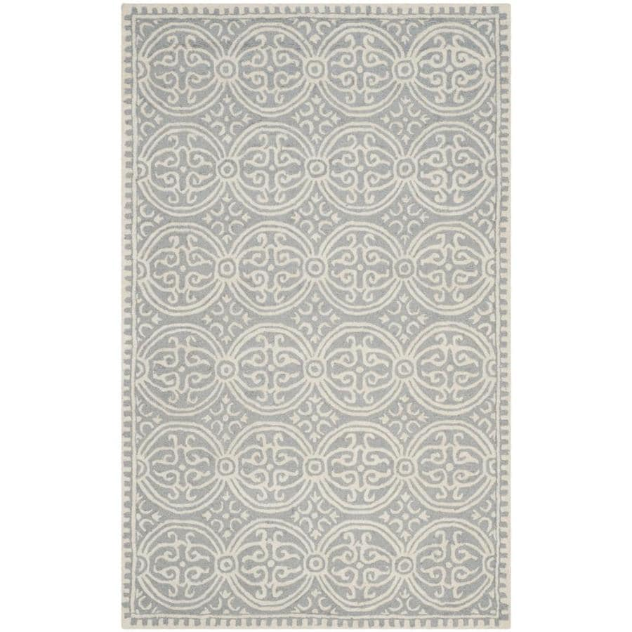 Safavieh Cambridge Silver and Ivory Rectangular Indoor Tufted Throw Rug (Common: 3 x 5; Actual: 36-in W x 60-in L x 0.42-ft Dia)