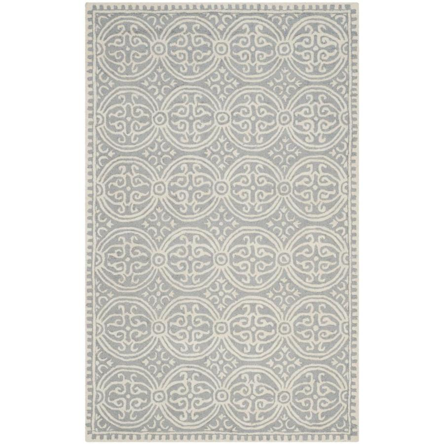 Safavieh Cambridge Silver and Ivory Rectangular Indoor Tufted Area Rug (Common: 5 x 8; Actual: 60-in W x 96-in L x 0.58-ft Dia)