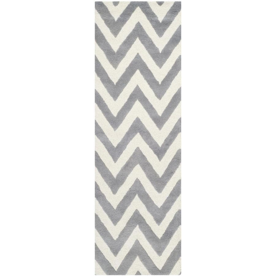 Safavieh Cambridge Silver and Ivory Rectangular Indoor Tufted Runner (Common: 2 x 8; Actual: 30-in W x 96-in L x 0.58-ft Dia)