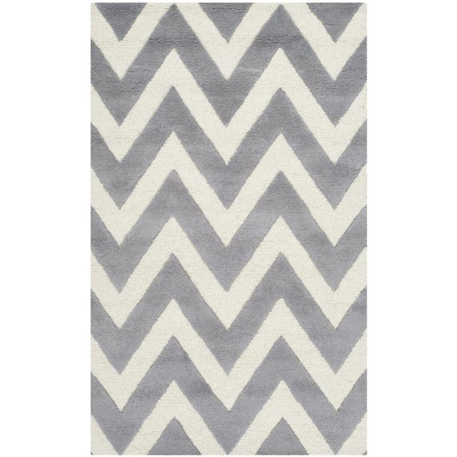 Safavieh Cambridge Silver and Ivory Rectangular Indoor Hand-Knotted Throw Rug (Common: 3 x 5; Actual: 36-in W x 60-in L x 0.42-ft Dia)