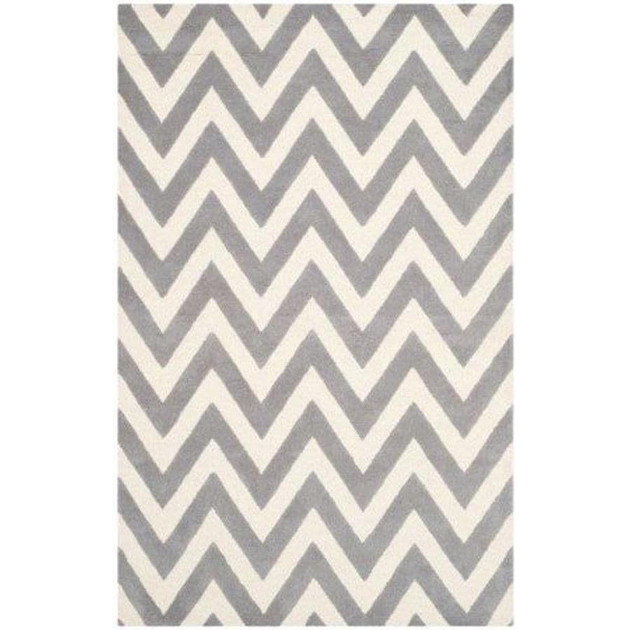 Safavieh Cambridge Silver and Ivory Rectangular Indoor Tufted Area Rug (Common: 6 x 9; Actual: 72-in W x 108-in L x 0.67-ft Dia)