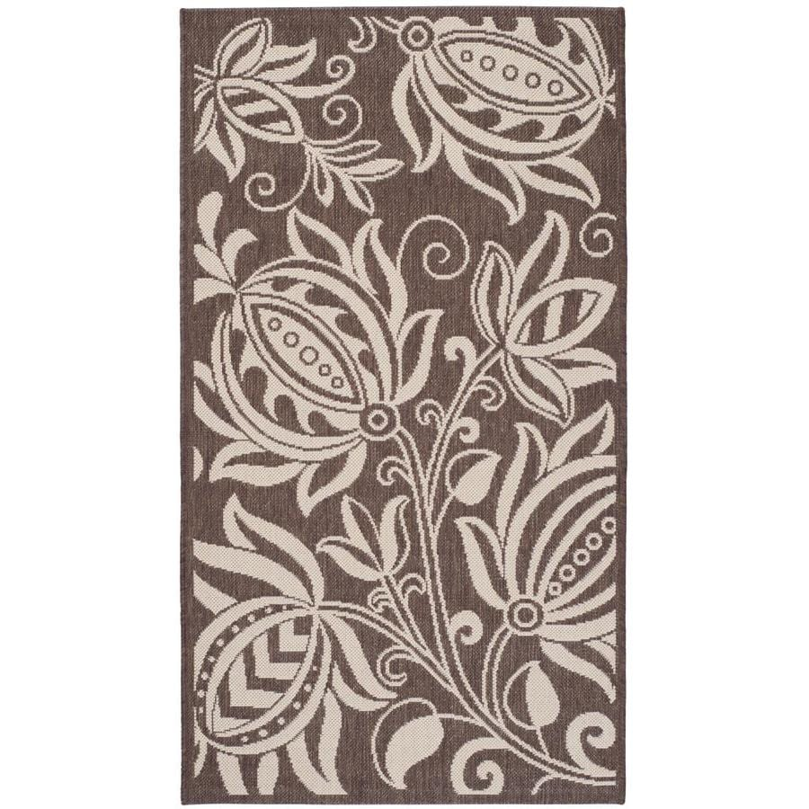 Safavieh Courtyard Chocolate and Natural Rectangular Indoor and Outdoor Machine-Made Area Rug (Common: 4 x 6; Actual: 48-in W x 67-in L x 0.33-ft Dia)