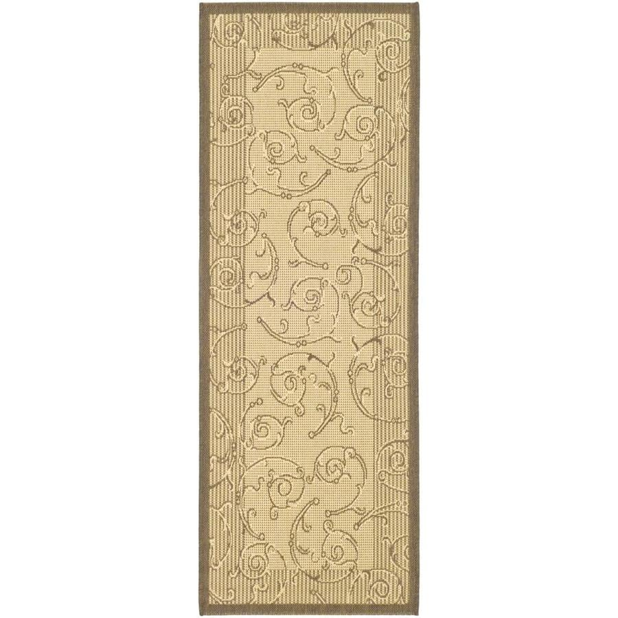 Safavieh Courtyard Green and Gold Rectangular Indoor/Outdoor Machine-Made Runner (Common: 2 x 6; Actual: 28-in W x 79-in L x 0.33-ft Dia)