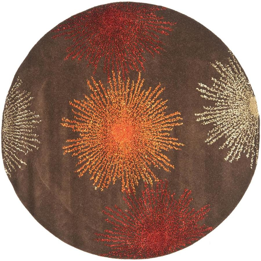 Safavieh Soho Brown and Multicolor Round Indoor Tufted Area Rug (Common: 6 x 6; Actual: 72-in W x 72-in L x 0.58-ft Dia)
