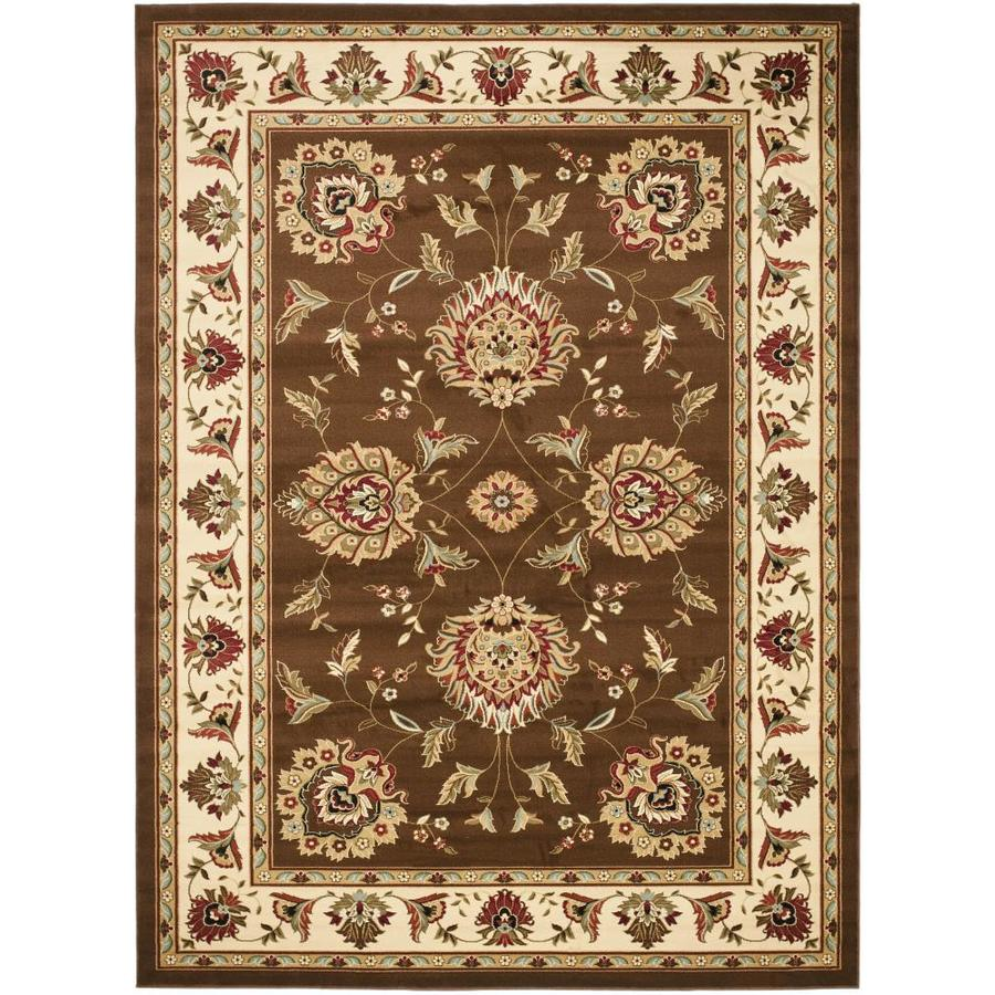 Safavieh Lyndhurst Ivory and Brown Rectangular Indoor Machine-Made Area Rug (Common: 8 x 10; Actual: 96-in W x 132-in L x 0.58-ft Dia)