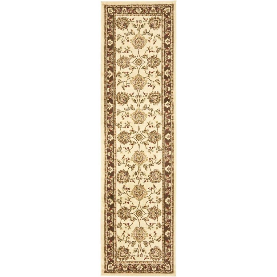 Safavieh Lyndhurst Ivory and Brown Rectangular Indoor Machine-Made Runner (Common: 2 x 8; Actual: 27-in W x 96-in L x 0.58-ft Dia)