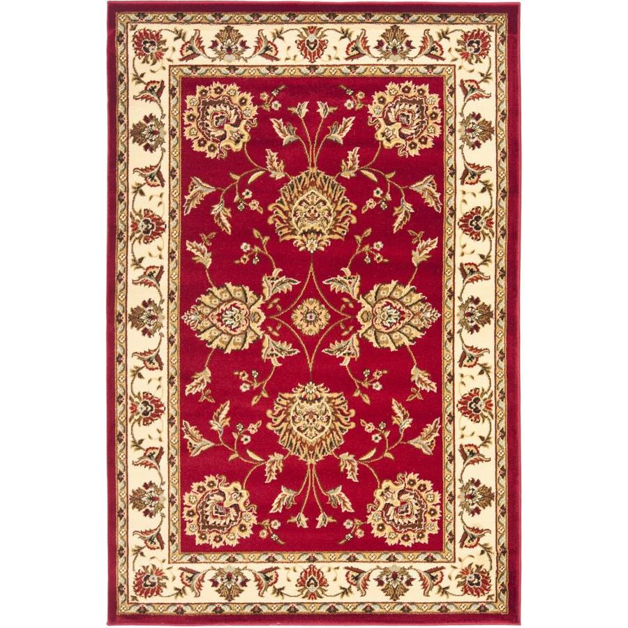Safavieh Lyndhurst Red and Ivory Rectangular Indoor Machine-Made Throw Rug (Common: 3 x 5; Actual: 39-in W x 63-in L x 0.42-ft Dia)