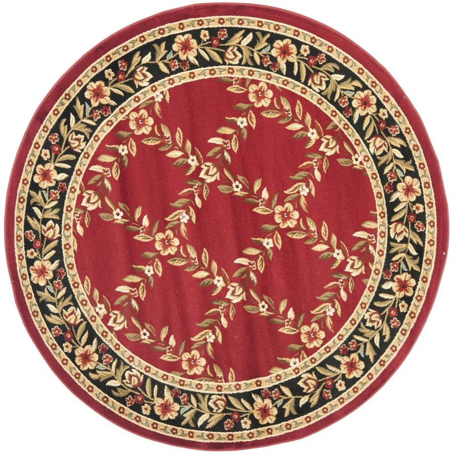 Safavieh Lyndhurst Red and Black Round Indoor Machine-Made Area Rug (Common: 5 x 5; Actual: 63-in W x 63-in L x 0.42-ft Dia)