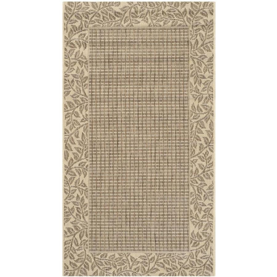 Safavieh Courtyard Brown and Natural Rectangular Indoor and Outdoor Machine-Made Area Rug (Common: 4 x 6; Actual: 48-in W x 67-in L x 0.33-ft Dia)