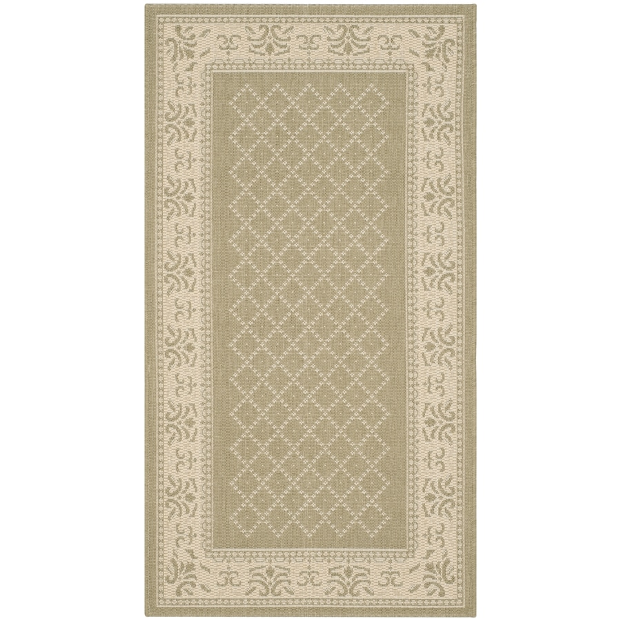 Safavieh Courtyard Olive and Natural Rectangular Indoor and Outdoor Machine-Made Throw Rug (Common: 3 x 5; Actual: 31-in W x 60-in L x 0.33-ft Dia)