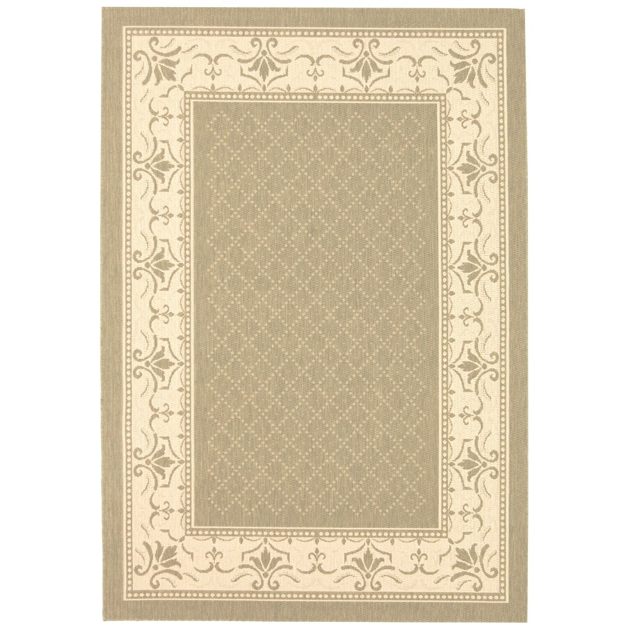 Safavieh Courtyard Olive and Natural Rectangular Indoor and Outdoor Machine-Made Area Rug (Common: 5 x 8; Actual: 63-in W x 91-in L x 0.42-ft Dia)