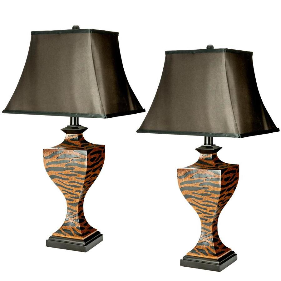 Safavieh 2-Piece Brown and Beige Lamp Set with Fabric Shades