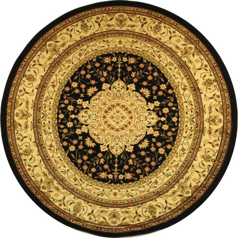 Safavieh Lyndhurst Black and Ivory Round Indoor Machine-Made Area Rug (Common: 8 x 8; Actual: 96-in W x 96-in L x 0.5-ft Dia)