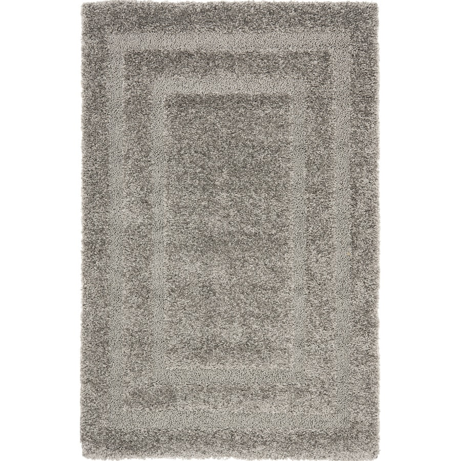 Safavieh Shag Grey and Grey Rectangular Indoor Machine-Made Area Rug (Common: 4 x 6; Actual: 48-in W x 72-in L x 0.5-ft Dia)