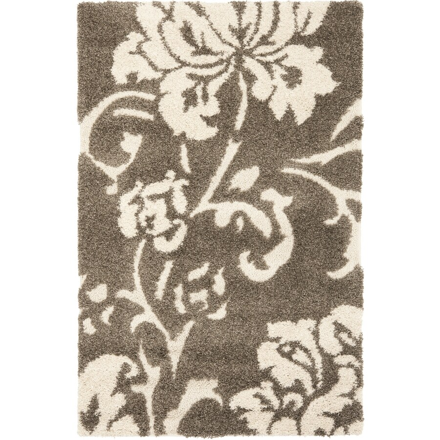 Safavieh Shag Smoke and Beige Rectangular Indoor Machine-Made Area Rug (Common: 5 x 8; Actual: 63-in W x 90-in L x 0.67-ft Dia)