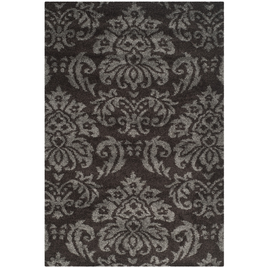 Safavieh Shag Dark Brown and Smoke Rectangular Indoor Machine-Made Area Rug (Common: 5 x 8; Actual: 63-in W x 90-in L x 0.67-ft Dia)