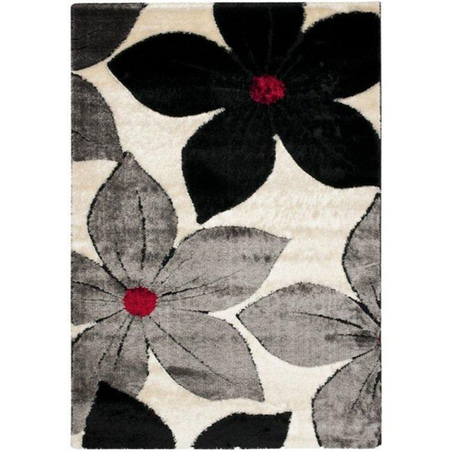 Safavieh Miami Shag 5-ft 3-in x 7-ft 6-in Rectangular Black Transitional Area Rug