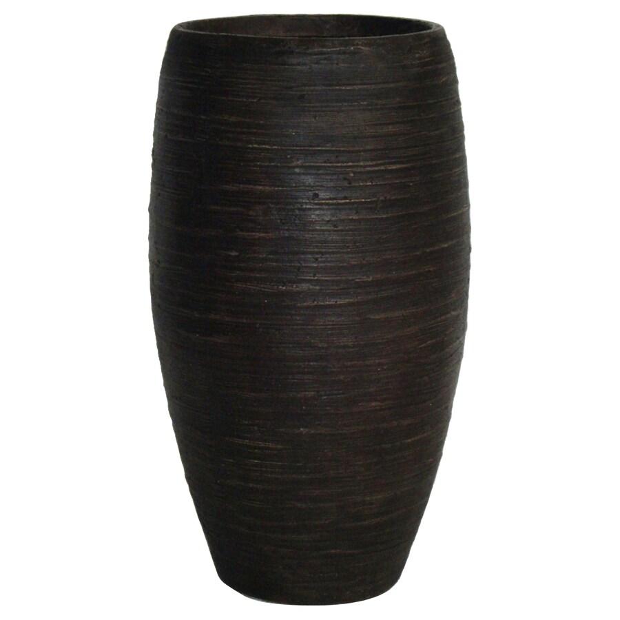 Garden Treasures 21-in H x 12.25-in W x 12.25-in D Bronze Fiberglass Indoor/Outdoor Vase