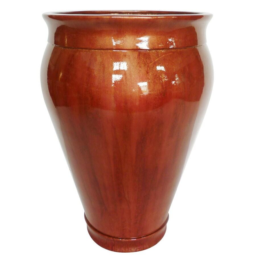 Garden Treasures 22.5-in H x 14.5-in W x 14.5-in D Persimmon Fiberglass Vase