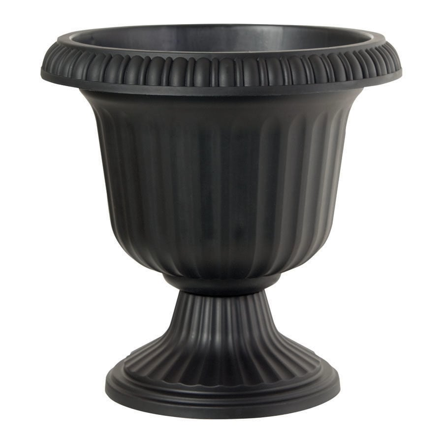 Garden Treasures 18.75-in H x 19-in W x 19-in D Black Indoor/Outdoor Urn